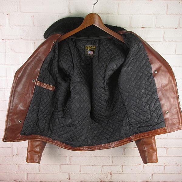 バンソン 襟ボアつき ダブルライダースジャケット