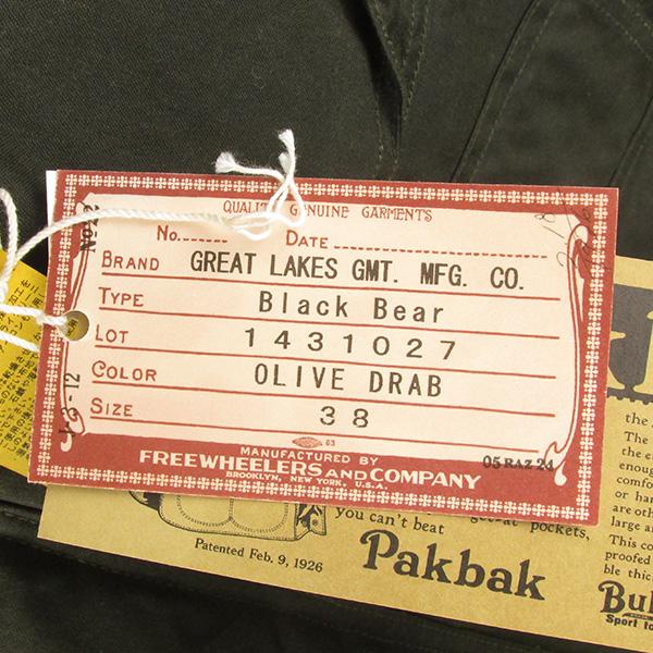 FREEWHEELERS フリーホイーラーズ Black Bear ブラックベア ワックスコットン ジャケット