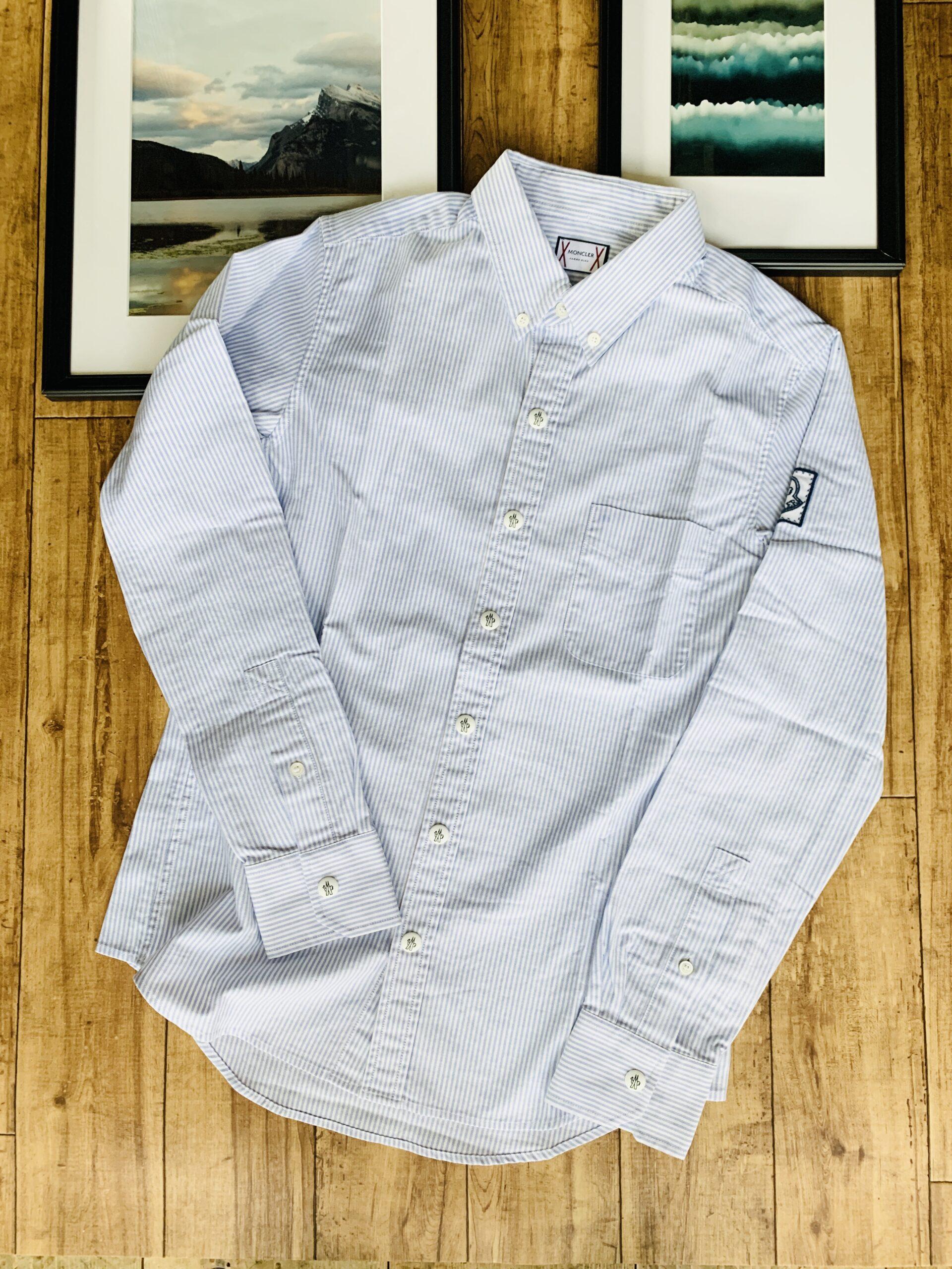 モンクレール ガムブルー ボタンダウンシャツ