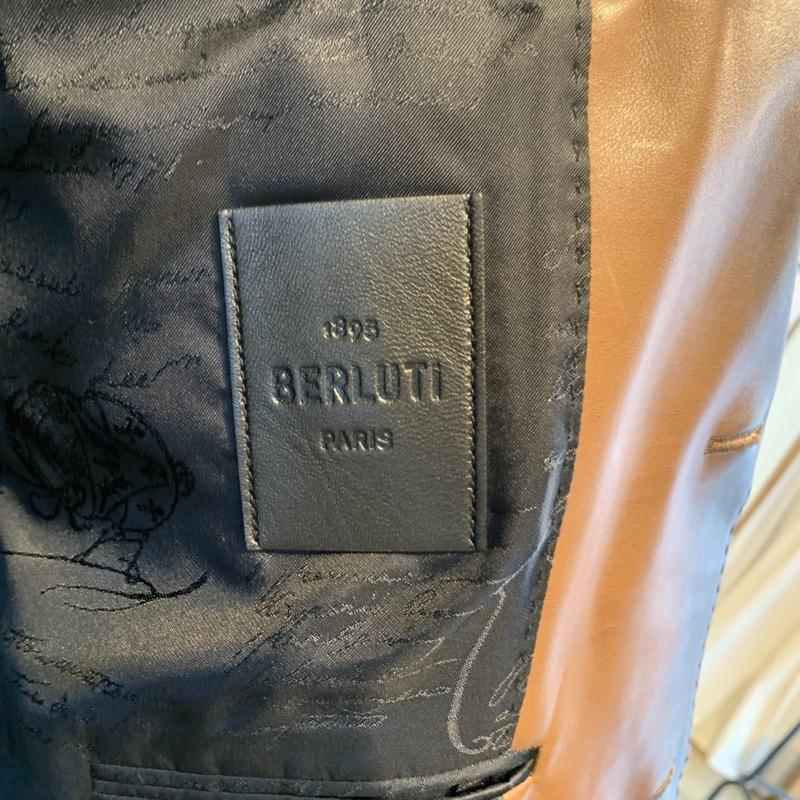 ベルルッティ レザーテーラードジャケット、パティーヌライニング加工